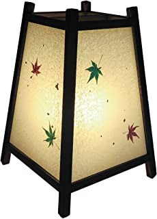 手作り行灯「台形」Mサイズ (手漉き和紙 紅葉入り)高さ34cm 末広がりの安定した形 贈答品などにお薦めです ADDM-003