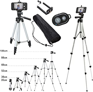 110cm Remote Controller Shutter + Portable Camera Tripod Stand Holder Adjustable Rotatable Retractable Aluminum Tripods Smartphones Mount for iPhone X XS 8 7 7 6s 6 Plus Samsung S9 S8 S10 Plus Moblie