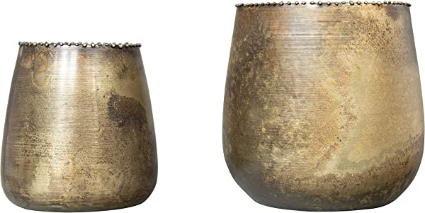 Creative Co Op Distressed Brass Metal Planters With Rim Beading Set Of 2 Sizes Tealight And Votive Holders