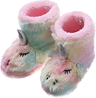 RONGBLUE Girls Kids Cute Unicorn Slippers Soft Warm Plush Fleece Winter Shoes Indoor Outdoor Slip-on Rainbow Booties