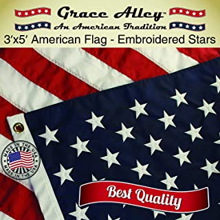 Grace Alley American Flag: American Made 3x5 FT US Flag Made in USA - Embroidered Stars and Sewn Stripes. This American Flag Meets US Flag Code