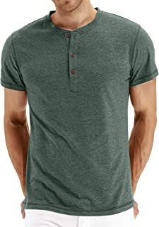 PEGENO Men's Casual Slim Fit Short Sleeve Henley T-shirts Cotton Shirts