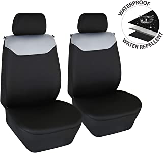 Elantrip Dual Waterproof Front Seat Covers Neoprene Car Bucket Seat Protection Universal Airbag Compatible for Auto SUV Truck Van Black and Gray 2 PC