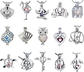 Cherri Wave 10 Pieces White Gold Plated Pearl Bead Cages Pendants for Jewelry Making/Essential Oil Scent Diffuser Locket Pendants (Set A)