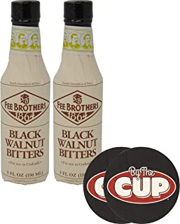 Fee Brothers Bitters Black Walnut Cocktail Bitters 5 Ounce (Pack of 2) with By The Cup Coasters