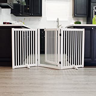 WELLAND Freestanding Wood Pet Gate with Walk Through Door White, 66-Inch Width, 32-Inch Height (Set of Support Feet Included)
