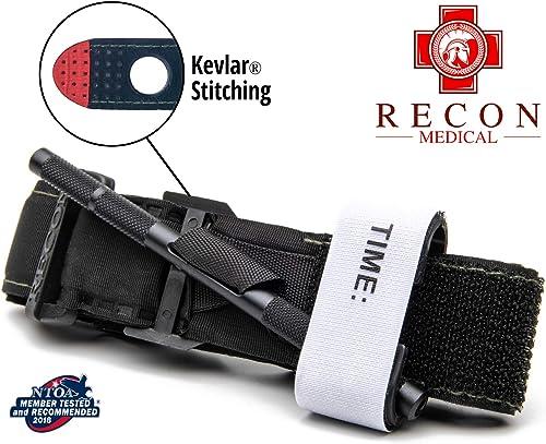 Recon Medical BLK-1PAK-FBA Tourniquet - (Black) Gen 3 Mil-Spec Kevlar Metal Windlass Aluminum First Aid Tactical Swat...