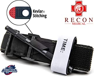 Recon Medical BLK-1PAK-FBA Tourniquet - (Black) Gen 3 Mil-Spec Kevlar Metal Windlass Aluminum First Aid Tactical Swat Medic Pre-Hospital Life Saving Hemorrhage Control Registration Card 1 Pack