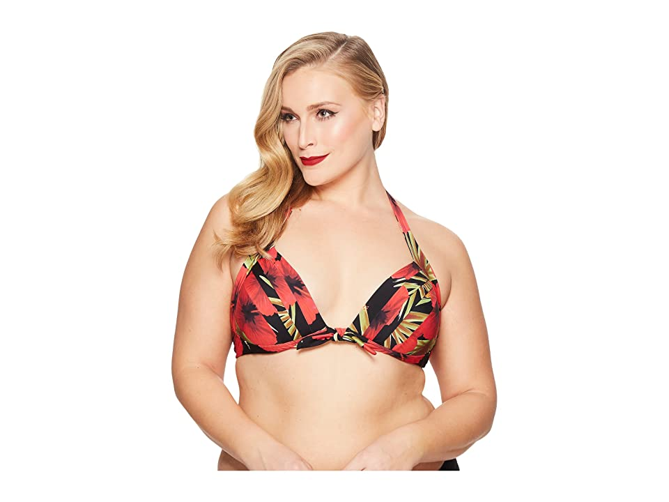 Unique Vintage Plus Size Monroe Top (Black/Red Hibiscus) Women