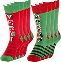 Toe of a Kind (4 Pairs) Cotton Crew Christmas Holiday Socks Mens Womens Red Green Funny by Hallmark