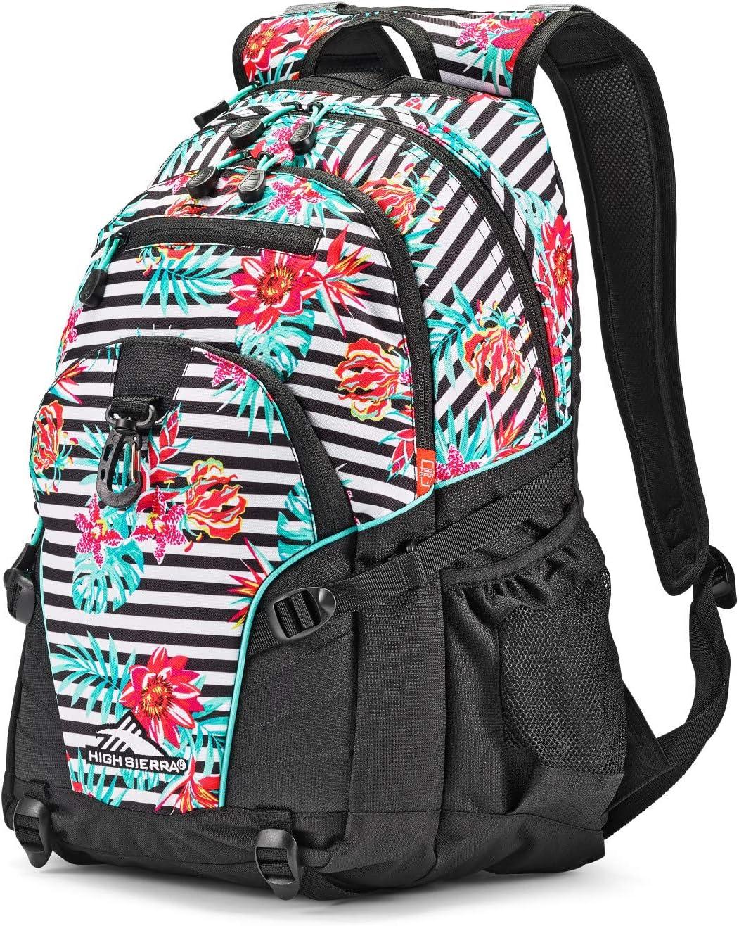 High Sierra Loop-Backpack, School, Travel, or Work Bookbag with tablet-sleeve, Tropical Stripe/Black/Aquamarine, One Size
