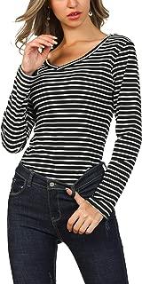 Women's Long Sleeve V Neck Casual Tunic Striped Tee Shirt