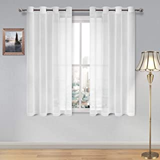 DWCN White Sheer Curtains Linen Look Grommet Curtain for Bedroom Set of 2 Panels, 52 x 45 Inch Long
