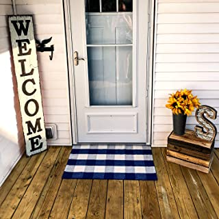 Buffalo Plaid Rug - Blue and White Check Door Mat Outdoor - Farmhouse Rugs for Kitchen/Bathroom/Front Porch/Decor - Layered Welcome Doormats - Checkered Flannel Cotton Entry Way Layering Mats 24