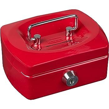 Geldkassette mini 12 cm rot mit Schlitz Münzfach und Schlüssel Geld Kasse NEU