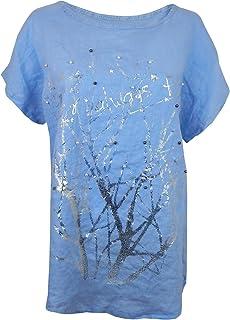 Ella Jonte Blusenshirt Tunika 40 42 44 M - L blau Silber Perlen Shirt Leinenbluse Made in Italy