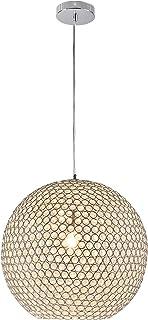 [lux.pro] luminaire suspendu plafonnier - crystal - (1 x socle E14) (sphère Ø 40 cm) plafonnier raccord de luminaire suspe...