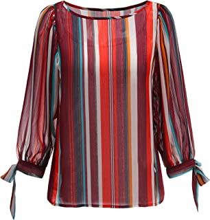 Women's Long Sleeve Multi Stripe Chiffon Blouse +with Rayon Sleeveless Camisol Top.9043T