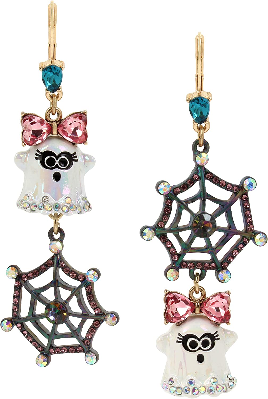 Betsey Johnson Ghost & Spider Web Drop Mismatch Earrings