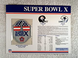 Super Bowl X (1976) - Official NFL Super Bowl Patch with complete Statistics Card - Pittsburgh Steelers vs Dallas Cowboys - Lynn Swann MVP