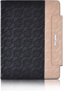 Thankscase Case for iPad Pro 12.9 2018 Version, 360 Degree Rotating Stand Case Cover with Apple Pencil Holder, Wallet Pocket, Hand Strap, Smart Cover (Not Fit 2015/2017 Version) (Lace Black Gold)