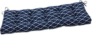 """Pillow Perfect Outdoor/Indoor Garden Gate Navy Tufted Bench Swing Cushion, 52"""" x 18"""", Blue"""