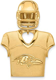 Kira Riley Gold Plated Baltimore Ravens Jersey & Helmet Pendant for Chains and Necklaces
