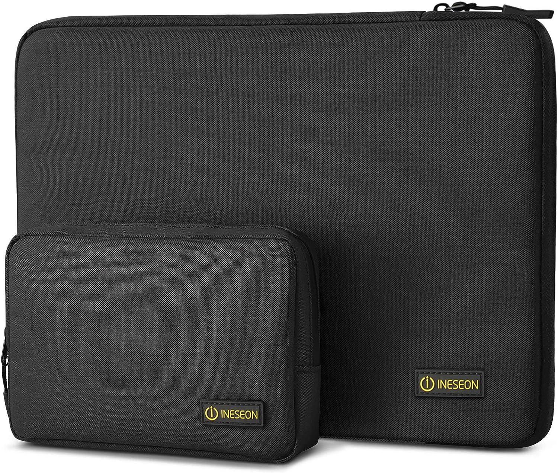 I INESEON Funda Ordenador Portátil 15,6 Pulgadas para HP Lenovo DELL Acer Samsung Toshiba Notebook Chromebook Funda Protectora Impermeable con Bolsa de Accesorios, Negro