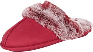 Jessica Simpson Women's Comfy Faux Fur House Slipper Scuff Memory Foam Slip on Anti-Skid Sole