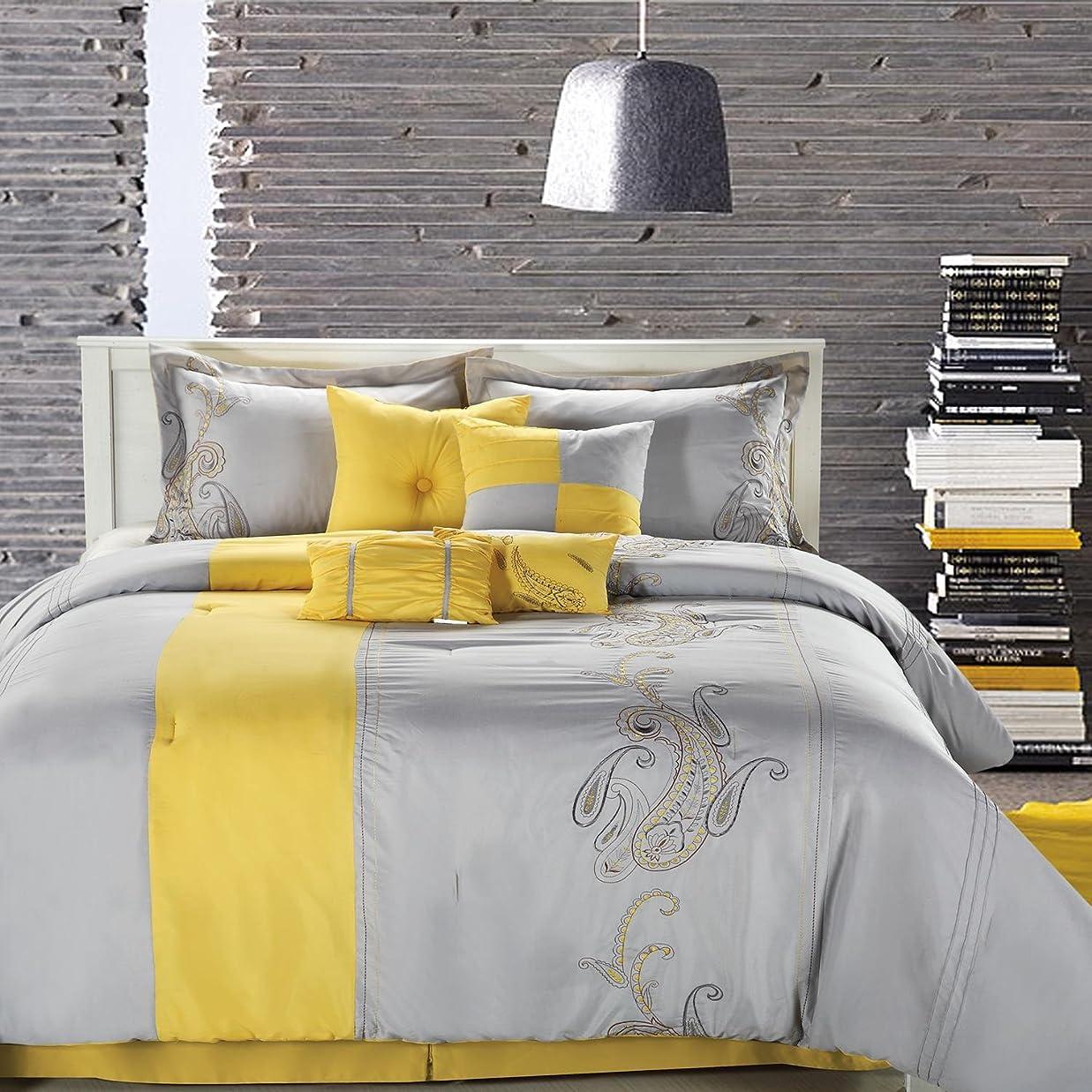 ワーカー人柄マンハッタンシックホームAnn Harbor 8点掛け布団寝具セット、イエロー/グレー、キング