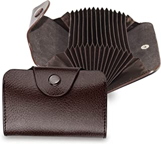 DAHSHA Imported Leather Credit Card Holder Wallet with 13 Card Slots & 2 Money Pockets for Men & Women – Coffee Brown