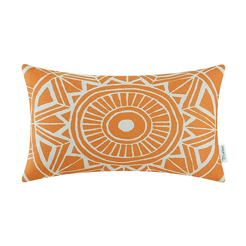 CaliTime Canvas Bolster Pillow Cover Case for Couch Sofa Home Decoration Modern Compass Geometric 12 X 20 Inches Sun Orange