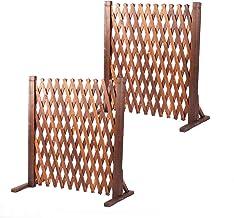 LeHom 2Pcs Expanding Wooden Fence 27.5 x 63 inch Retractable Lattice Fences Gate Garden Patio Lawn Expandable Fencing Barr...