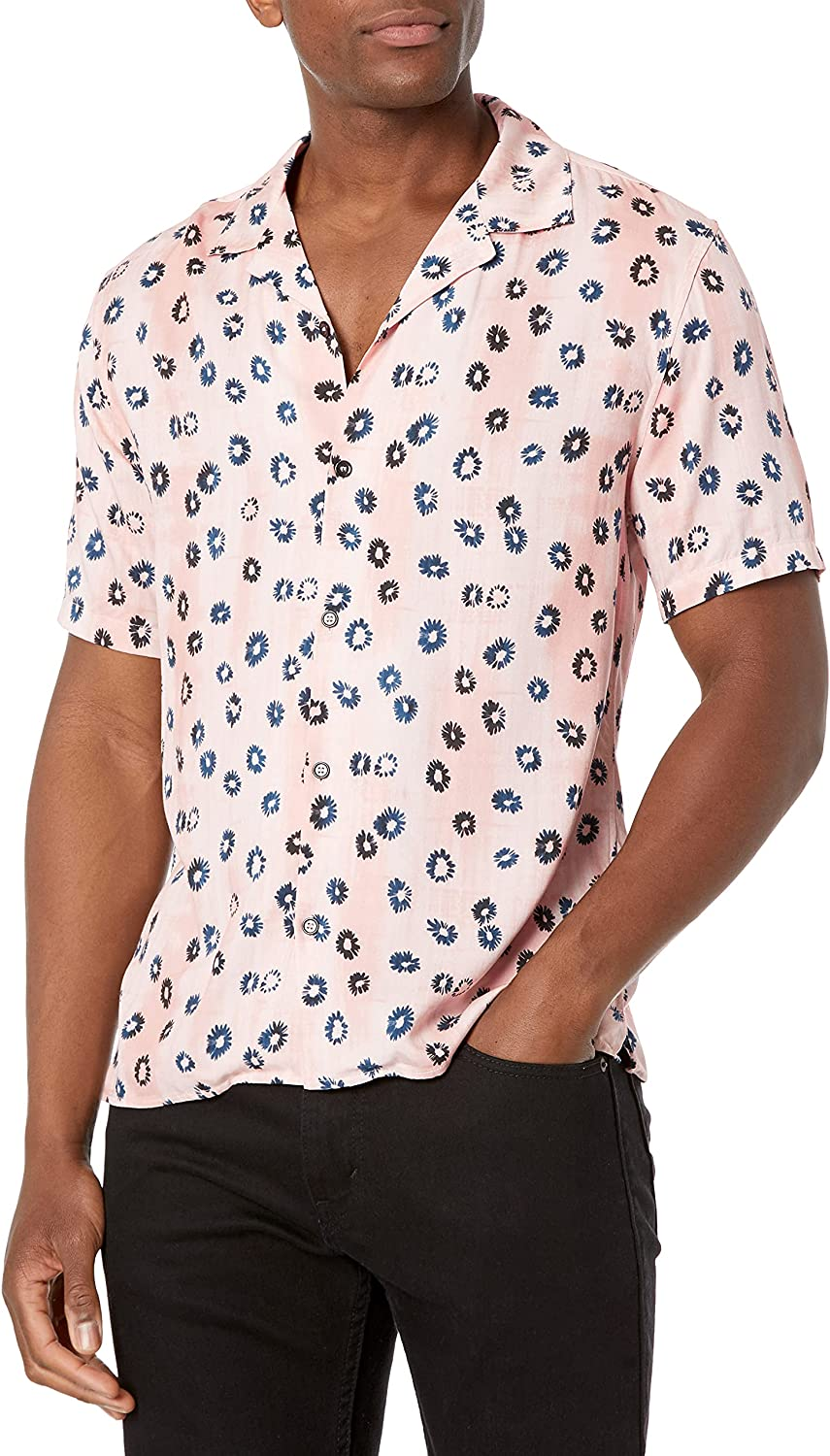The Kooples Men's Short-Sleeved, Floral Printed Button-Down Shirt