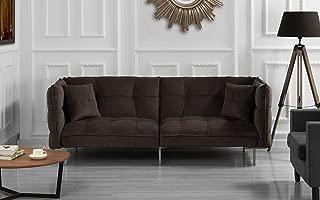 DIVANO ROMA FURNITURE Collection - Modern Plush Tufted Velvet Fabric Splitback Living Room Sleeper Futon (Brown)