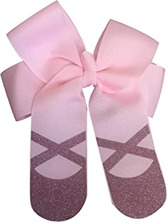 Sportybella Dance Hair Bow, Girls Pink Glitter Ballet Hair Accessories- Dance Elastics for Dance Recitals, Birthday or Just Because