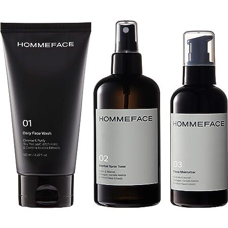 HommeFace Men's Daily Trio Skin Care Kit, Full-Sized 3-Step Routine Set for Men - Daily Face Wash, Herbal Spray Toner Mist & Facial Moisturizer, Vegan, 17.74 fl.oz.