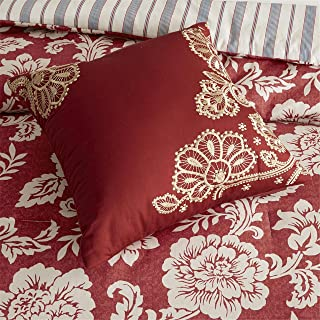 Madison Park Lucy Queen Size Bed Comforter Set Bed in A Bag - Red, Navy, Reversible Floral, Stripes – 9 Pieces Bedding Sets – Cotton Twill, Cotton Poly Blend Reverse Bedroom Comforters