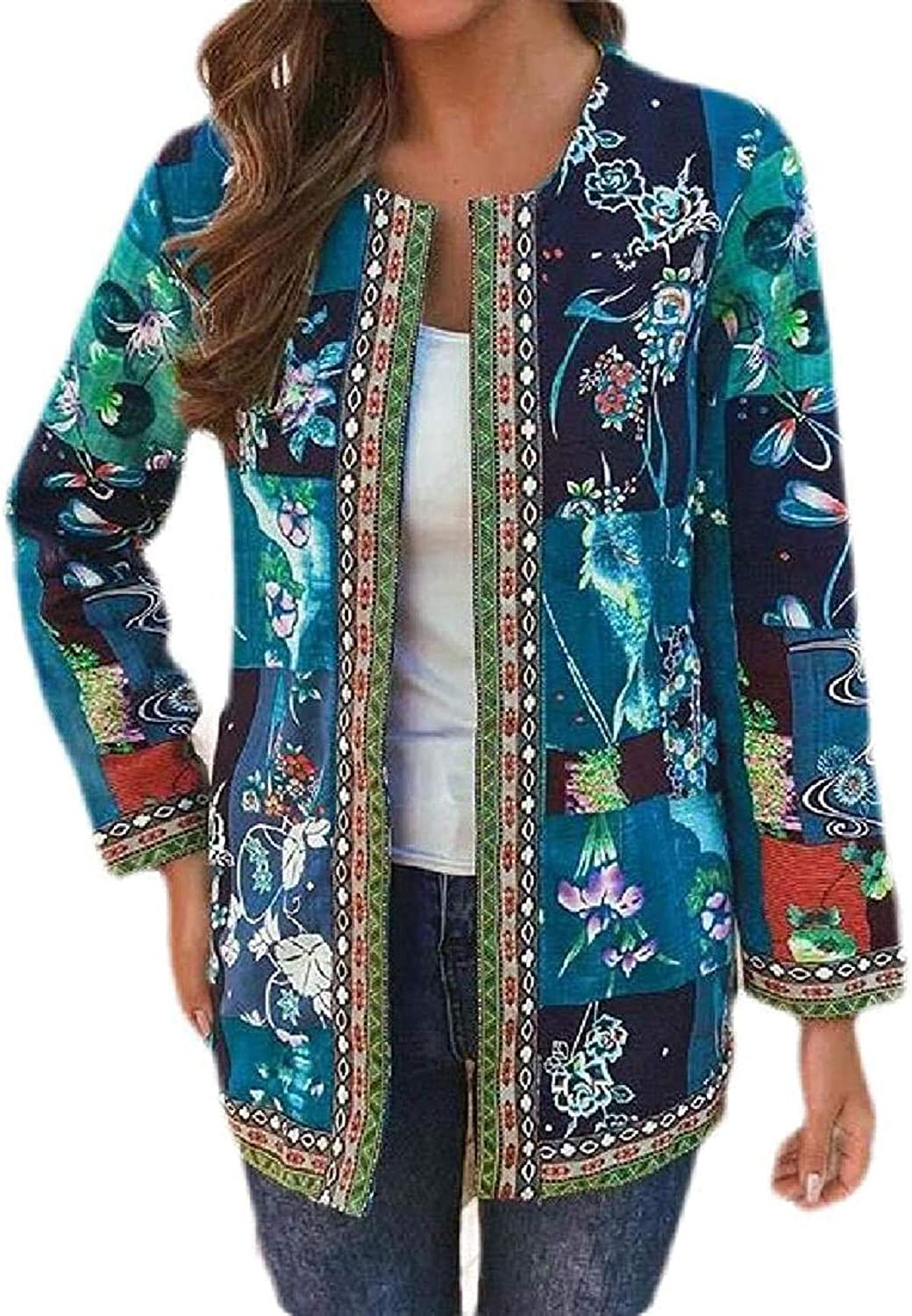 Women Cotton Linen Open Front Long Jacket Animer and Max 58% OFF price revision Print Sleeve Cardigan