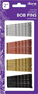 Diane Fromm 60 Pack Bob Pins 2'' Assorted Colors/Colores Variados Black Silver Copper Gold DHC020