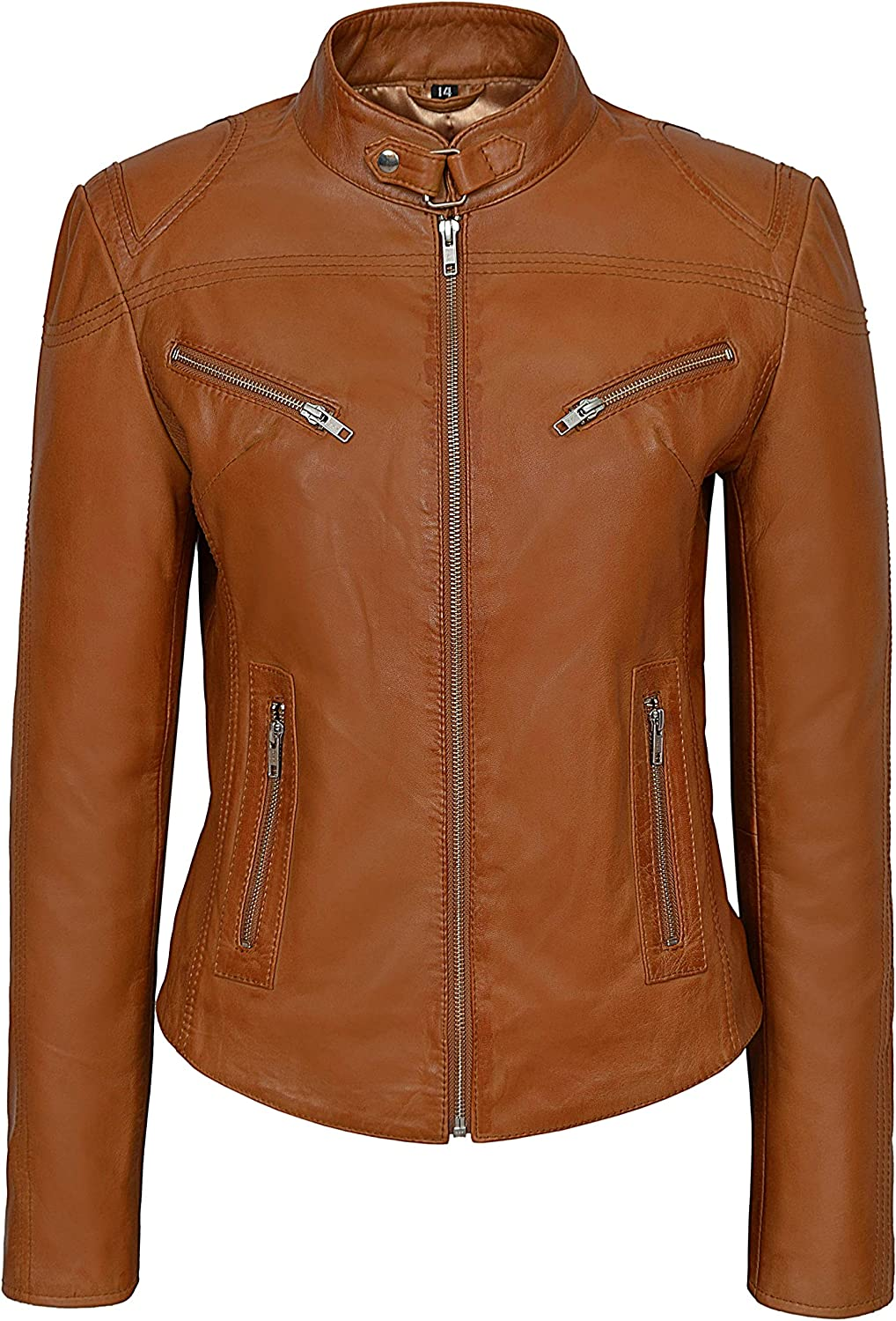 Speed Ladies Leather Jacket Tan Retro Fitted Biker Style Real Lambskin SR01