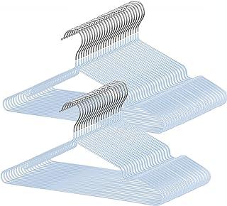 AUV ハンガー すべらない PVC特殊ラバー加工 50本組 セット 洗濯ハンガー 衣類ハンガー 多機能ハンガー 滑り止め 変形にくい 物干しハンガー hanger すべらない 曲がらな 超強い荷重 乾湿両用 PVCハンガー (ライトブルー)