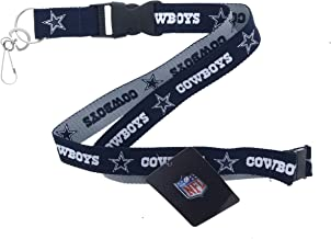 Genuine Authentic Licensed Football Cowboys Lanyard, Two Tone Woven Polyester Lanyard with Clip