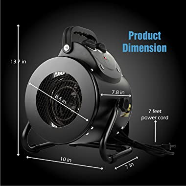 iPower Electric Heater Fan for Greenhouse, Grow Tent, Workplace, Overheat Protection, Fast Heating, Spraywater proof IPX4, Bl