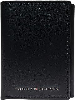 Tommy Hilfiger Men's Leather Trifold Wallet, Deep Black, One Size