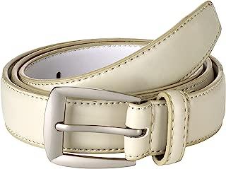 Sportoli Men's Genuine Leather Classic Stitched Uniform Dress Belt - Black Brown