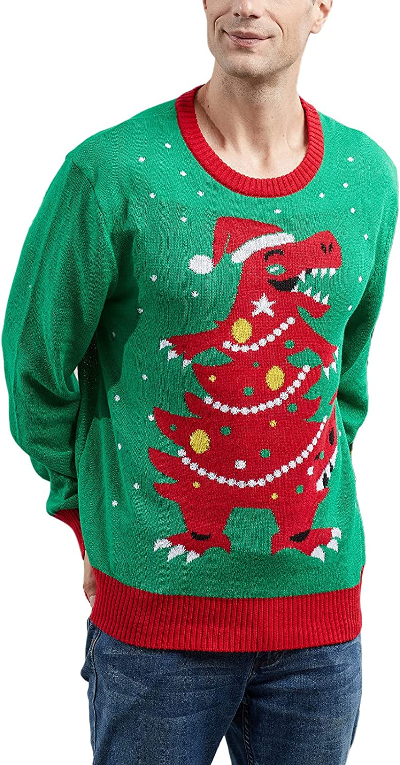 Neufigr Men's Ugly Christmas Sweater - Holiday Reindeer Snowman Santa Pullover Sweater