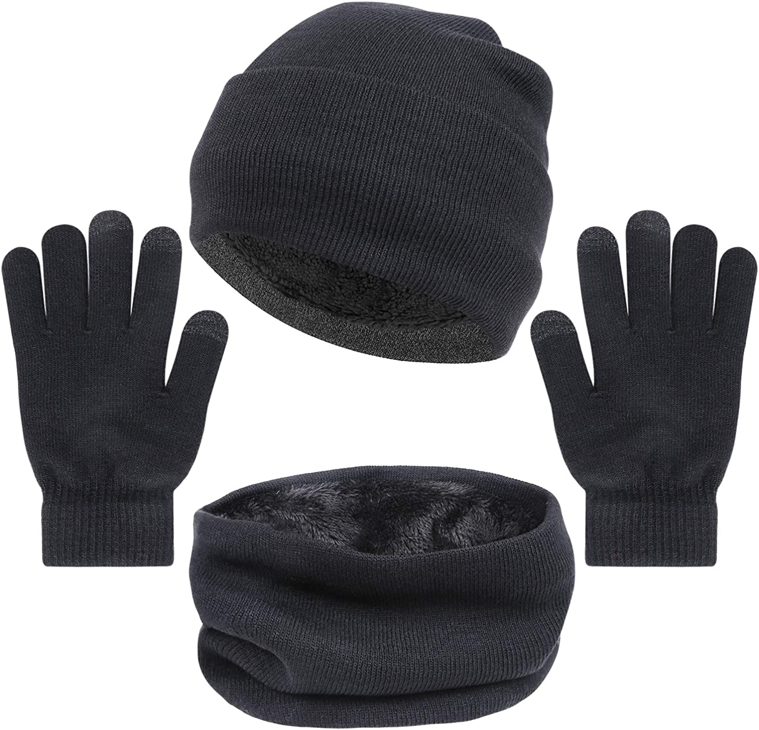 3 PCS Winter Beanie Hat, Scarf and Touch-Screen Gloves Set for Men and Women Knit Cap Neck Warmer Mitten Set