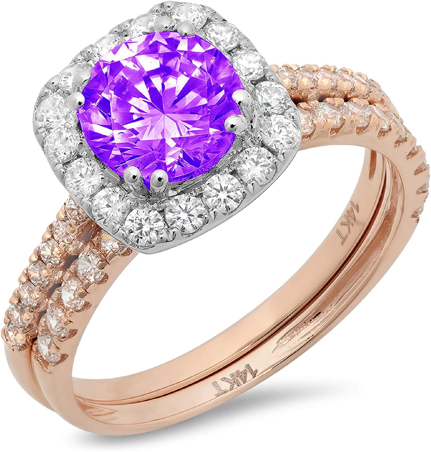 2.25ct Round Cut Halo Pave Solitaire Halo Accent Natural Purple Amethyst Engagement Promise Statement Anniversary Bridal Wedding Ring Band set Real Solid 14k 2 Tone Gold