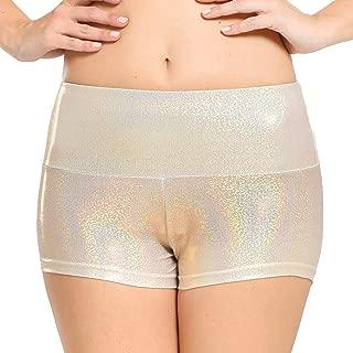 Women's Shiny Laser Booty Shorts,Yoga Shorts,Shiny Bottoms for Dancing, Raves, Festivals, Costumes